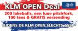 KLM OPEN Deal. 200 ballen, luxe pitchfork, 100 tees en gratis verzending_