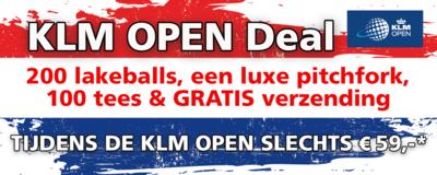 KLM OPEN Deal. 200 ballen, luxe pitchfork, 100 tees en gratis verzending